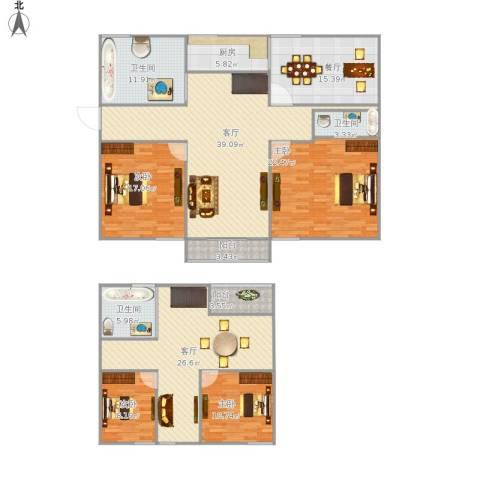 御苑家园4室3厅3卫1厨233.00㎡户型图