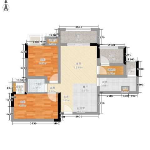 泽瑞琥珀天成2室0厅1卫1厨73.00㎡户型图