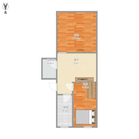 马甸南村2室1厅1卫1厨57.00㎡户型图