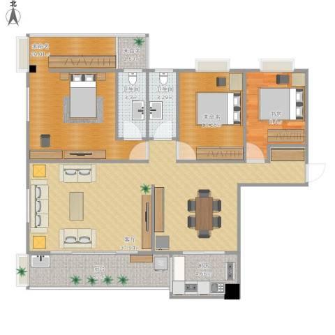 星河花园1室1厅2卫1厨133.00㎡户型图