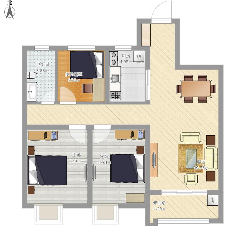 悦锦湾108方三室一厅