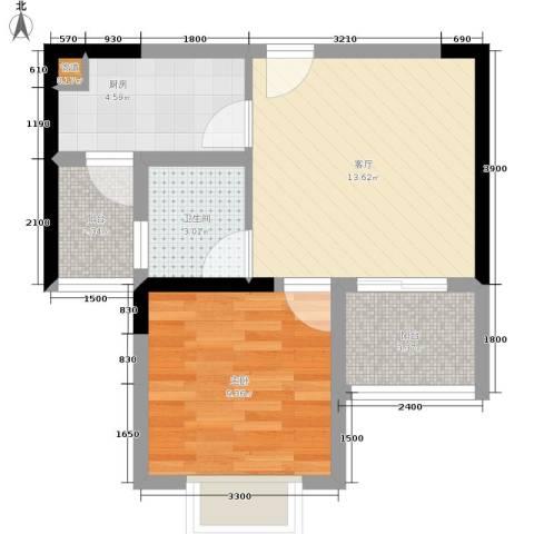 岭秀枫景1室1厅1卫1厨40.00㎡户型图