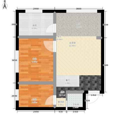 幸福小镇2室0厅1卫1厨68.00㎡户型图