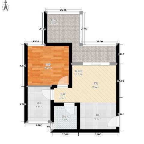 天岛湖1室0厅1卫1厨43.42㎡户型图