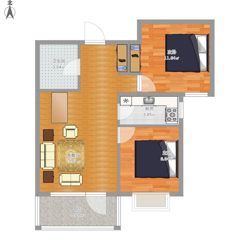 海棠小镇86m2两室两厅