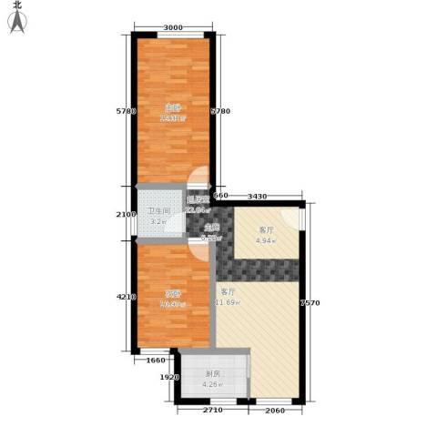 幸福小镇2室0厅1卫1厨74.00㎡户型图
