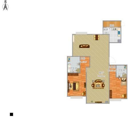 兴泰东河湾2室1厅2卫1厨198.00㎡户型图