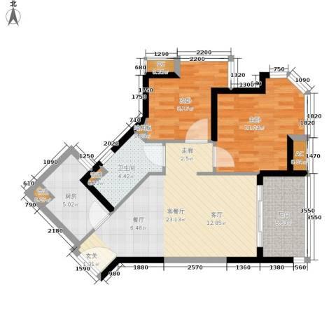 碧桂园十里金滩2室1厅1卫1厨70.00㎡户型图