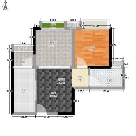 奥园康城B区1室0厅1卫1厨57.00㎡户型图