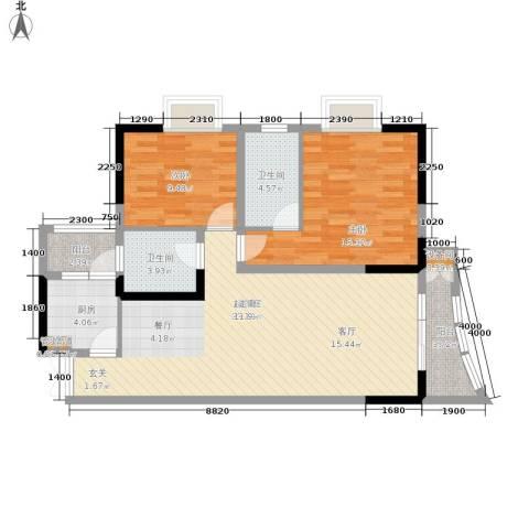松华阁2室0厅2卫1厨85.00㎡户型图