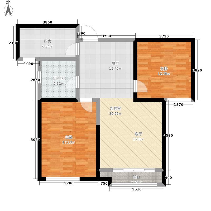 雅仕兰庭86.00㎡高层A户型2室2厅