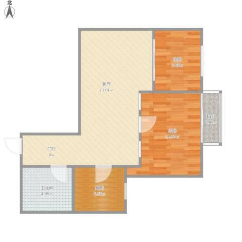 八里庄西里62--9032室1厅1卫1厨72.00㎡户型图
