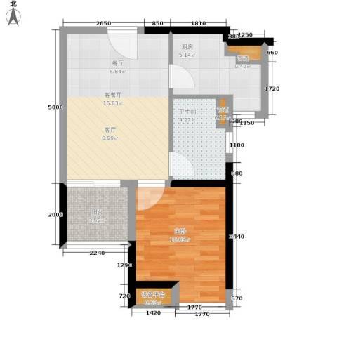 碧桂园十里金滩1室1厅1卫1厨47.00㎡户型图