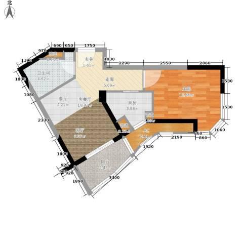 碧桂园十里金滩1室1厅1卫1厨51.00㎡户型图