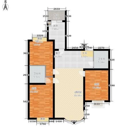 鹿港嘉苑3室0厅2卫1厨158.00㎡户型图
