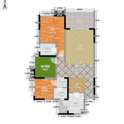 鲁能星城十二街区2室1厅2卫1厨104.00㎡户型图