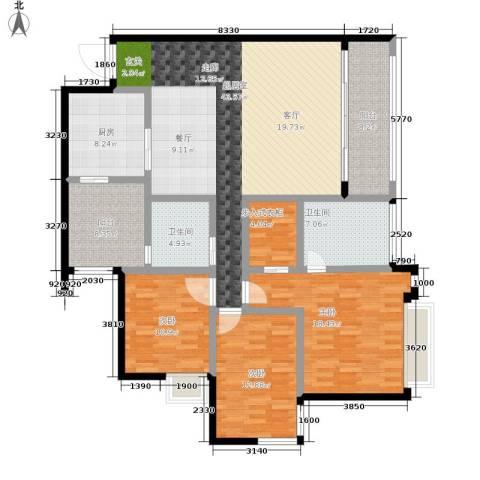 北城绿景3室0厅2卫1厨145.00㎡户型图