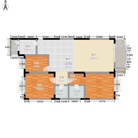 业城花园3室0厅2卫1厨119.19㎡户型图