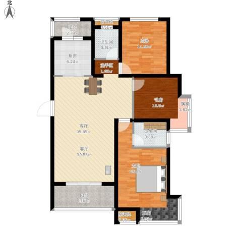 绿地高铁东城3室1厅2卫1厨144.00㎡户型图