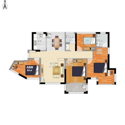 维一星城・原山苑3室1厅2卫1厨126.00㎡户型图