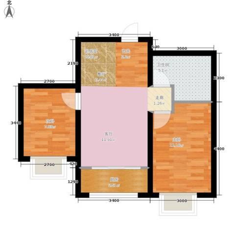 水木清华2室0厅1卫1厨68.00㎡户型图