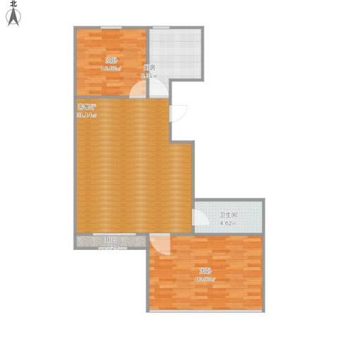 馨视界・花城2室1厅1卫1厨96.00㎡户型图