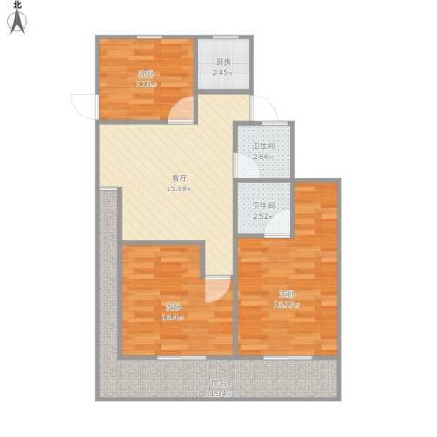 艾山新村3室1厅2卫1厨90.00㎡户型图