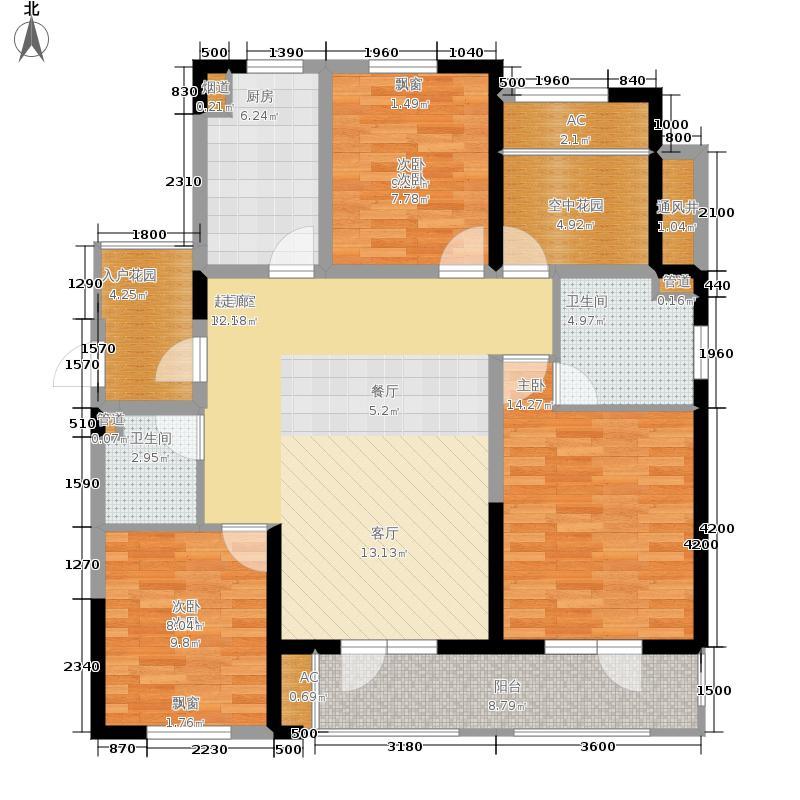 金帝海珀125.52㎡4号楼D2偶数层户型3室2厅