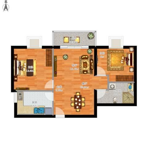 荣丰20082室1厅1卫1厨85.00㎡户型图