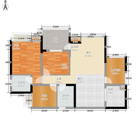 岭秀枫景3室0厅2卫1厨97.00㎡户型图