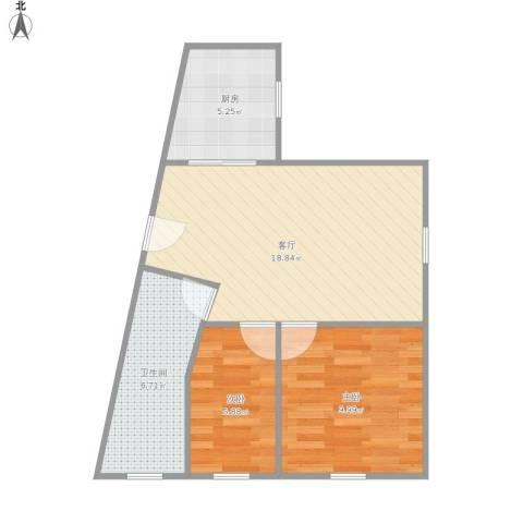 静安丽舍2室1厅1卫1厨63.00㎡户型图