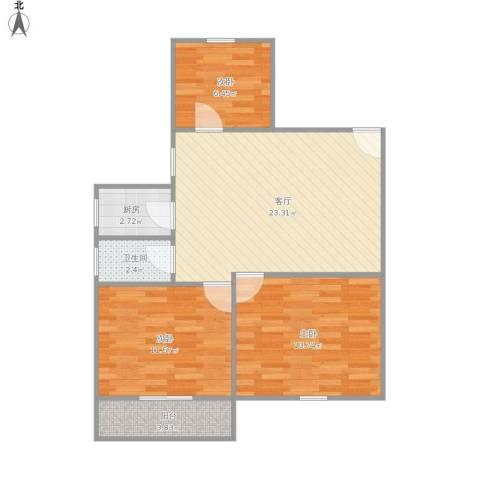蔷薇二村3室1厅1卫1厨86.00㎡户型图