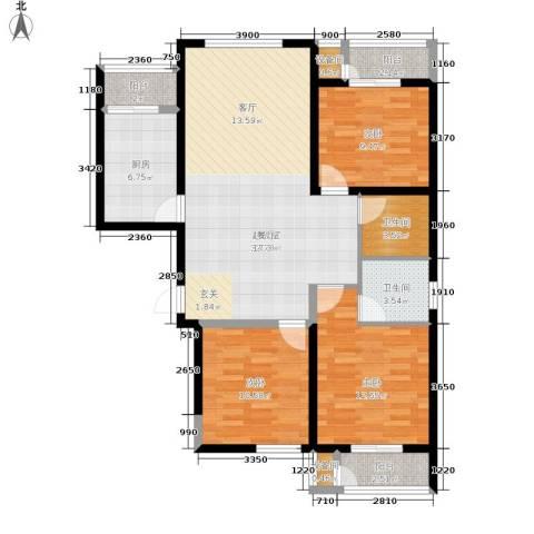 北京御湖湾3室0厅2卫1厨126.00㎡户型图
