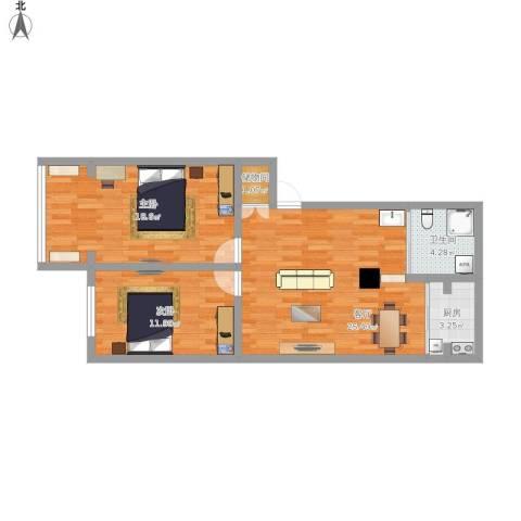 金贸新村2室1厅1卫1厨92.00㎡户型图