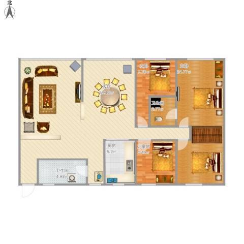 宜章香樟苑3室1厅2卫1厨145.00㎡户型图