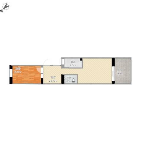 酒仙桥十街坊1室1厅1卫1厨66.00㎡户型图