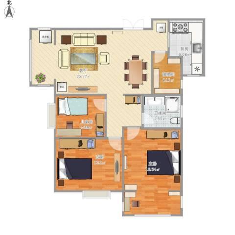 上东大道3室1厅1卫1厨120.00㎡户型图
