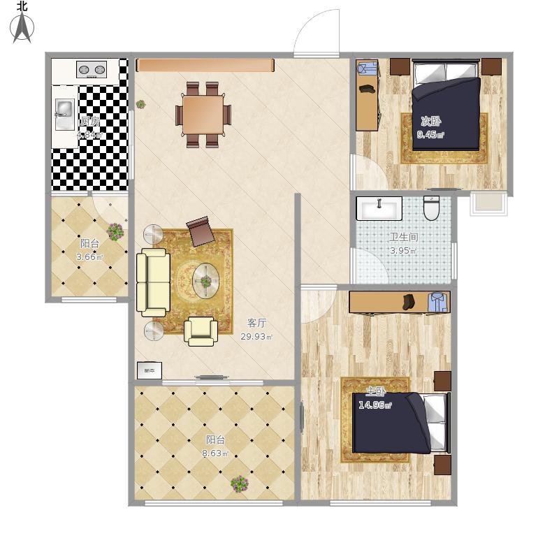 澜岸观邸88方B户型两居室