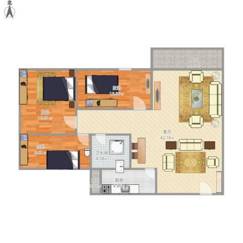 金华花园B区3室1厅1卫1厨123.00㎡户型图