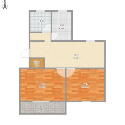 银山小区2室1厅1卫1厨70.00㎡户型图