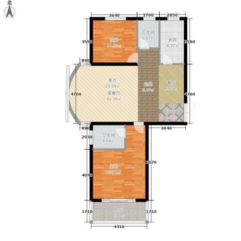崇城国际2室1厅2卫1厨103.00㎡户型图