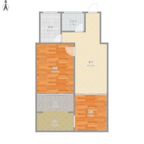 三牌楼小区1室1厅1卫1厨72.00㎡户型图