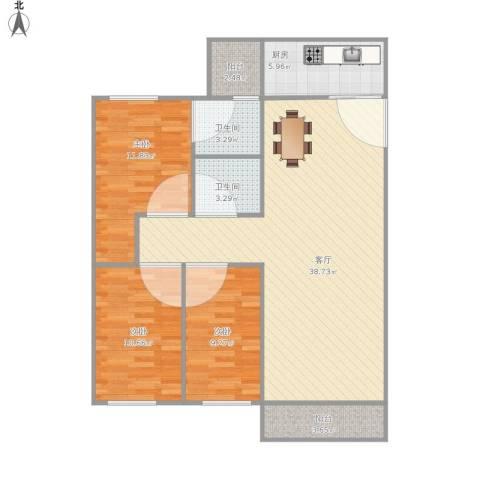 天一新村3室1厅2卫1厨120.00㎡户型图