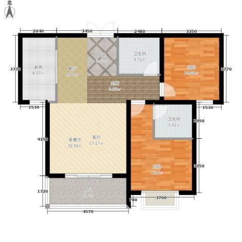 崇城国际2室1厅2卫1厨88.00㎡户型图