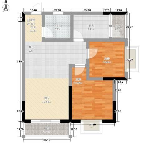 乔鹤西苑2室0厅1卫1厨77.00㎡户型图