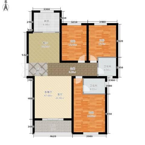 崇城国际3室1厅2卫1厨128.00㎡户型图