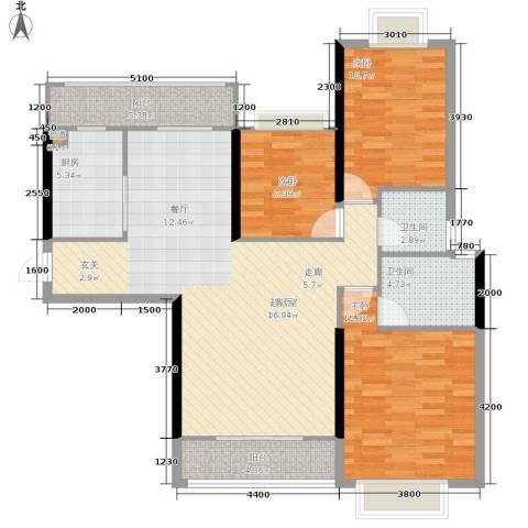 御水湾3室0厅2卫1厨123.00㎡户型图