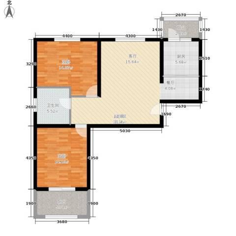 壹城公馆2室0厅1卫1厨90.00㎡户型图