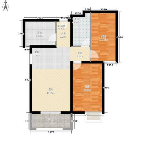 壹城公馆2室0厅1卫1厨80.00㎡户型图