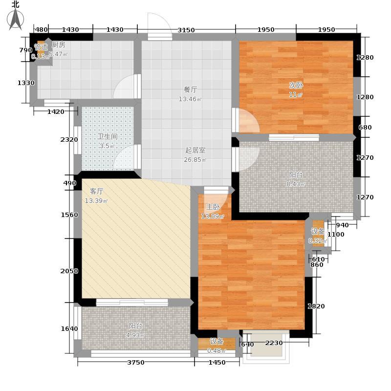 中北龙池湾87.00㎡D户型2室2厅